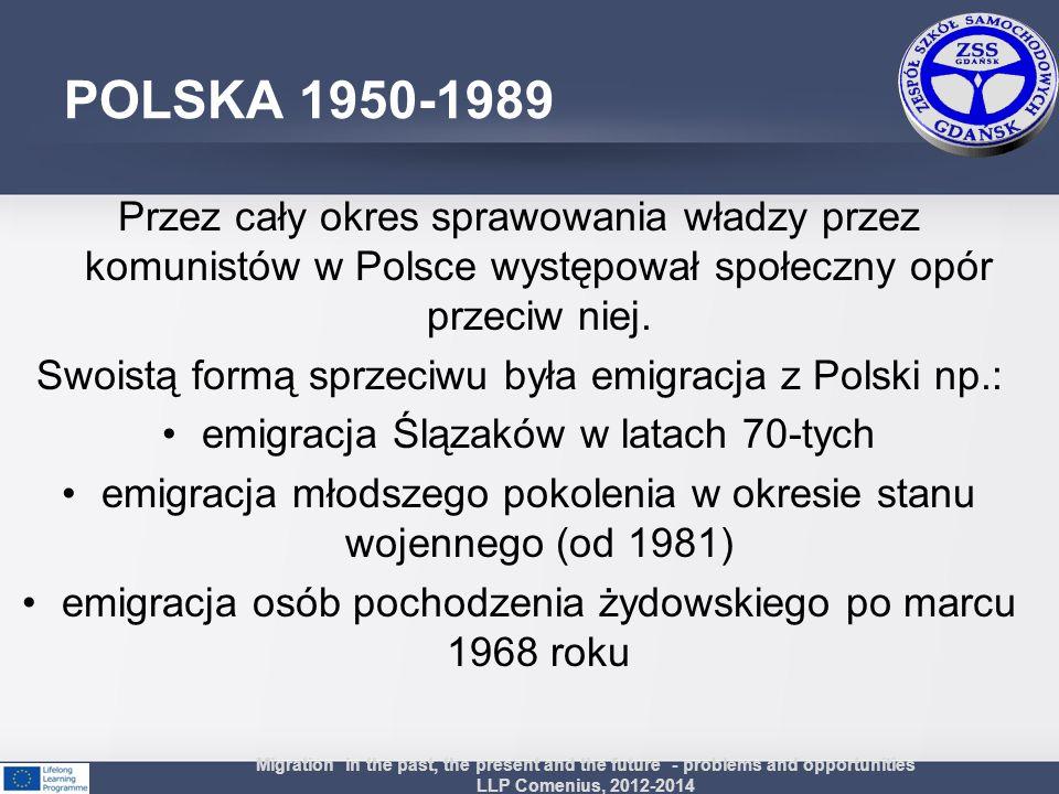 POLSKA 1950-1989 Przez cały okres sprawowania władzy przez komunistów w Polsce występował społeczny opór przeciw niej. Swoistą formą sprzeciwu była em