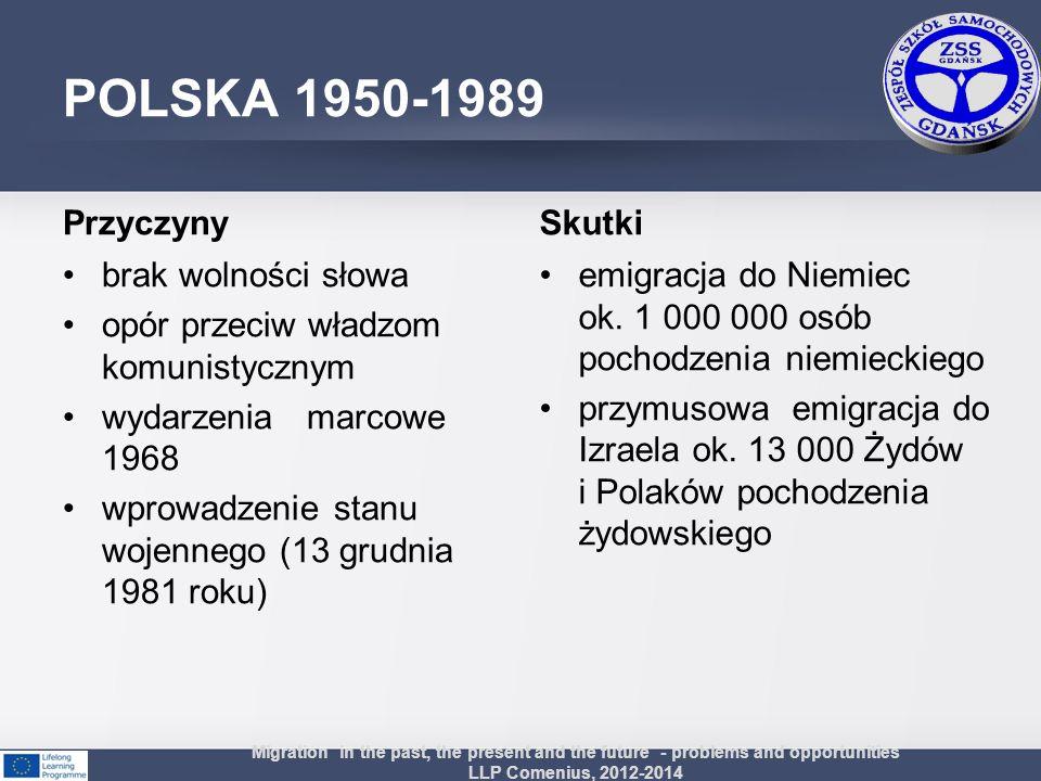 POLSKA 1950-1989 Przyczyny brak wolności słowa opór przeciw władzom komunistycznym wydarzenia marcowe 1968 wprowadzenie stanu wojennego (13 grudnia 19