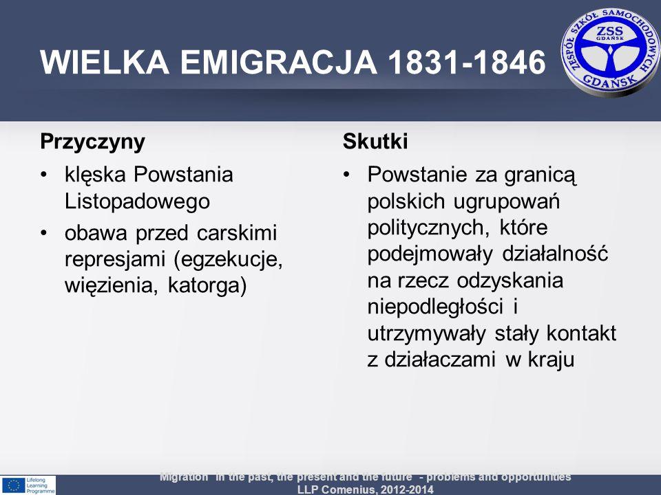 WIELKA EMIGRACJA 1831-1846 Przyczyny klęska Powstania Listopadowego obawa przed carskimi represjami (egzekucje, więzienia, katorga) Skutki Powstanie z