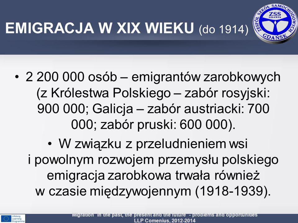 2 200 000 osób – emigrantów zarobkowych (z Królestwa Polskiego – zabór rosyjski: 900 000; Galicja – zabór austriacki: 700 000; zabór pruski: 600 000).