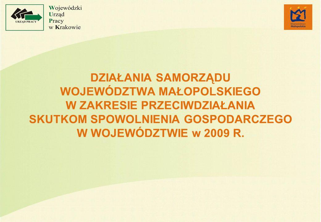 DZIAŁANIA SAMORZĄDU WOJEWÓDZTWA MAŁOPOLSKIEGO W ZAKRESIE PRZECIWDZIAŁANIA SKUTKOM SPOWOLNIENIA GOSPODARCZEGO W WOJEWÓDZTWIE w 2009 R.