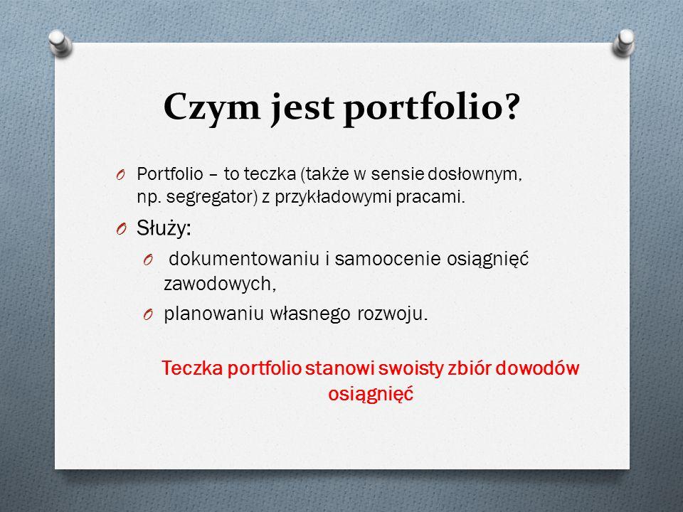 Czym jest portfolio? O Portfolio – to teczka (także w sensie dosłownym, np. segregator) z przykładowymi pracami. O Służy: O dokumentowaniu i samooceni