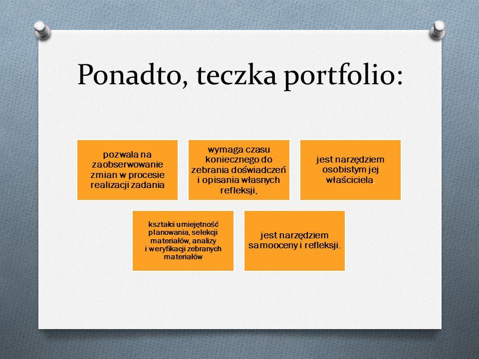 Ponadto, teczka portfolio: pozwala na zaobserwowanie zmian w procesie realizacji zadania wymaga czasu koniecznego do zebrania doświadczeń i opisania w