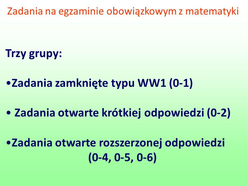 Zadania na egzaminie obowiązkowym z matematyki Trzy grupy: Zadania zamknięte typu WW1 (0-1) Zadania otwarte krótkiej odpowiedzi (0-2) Zadania otwarte rozszerzonej odpowiedzi (0-4, 0-5, 0-6)