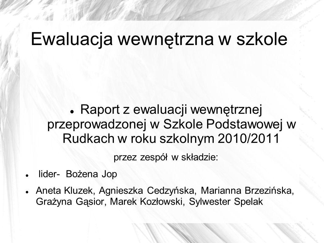 Ewaluacja wewnętrzna w szkole Raport z ewaluacji wewnętrznej przeprowadzonej w Szkole Podstawowej w Rudkach w roku szkolnym 2010/2011 przez zespół w s