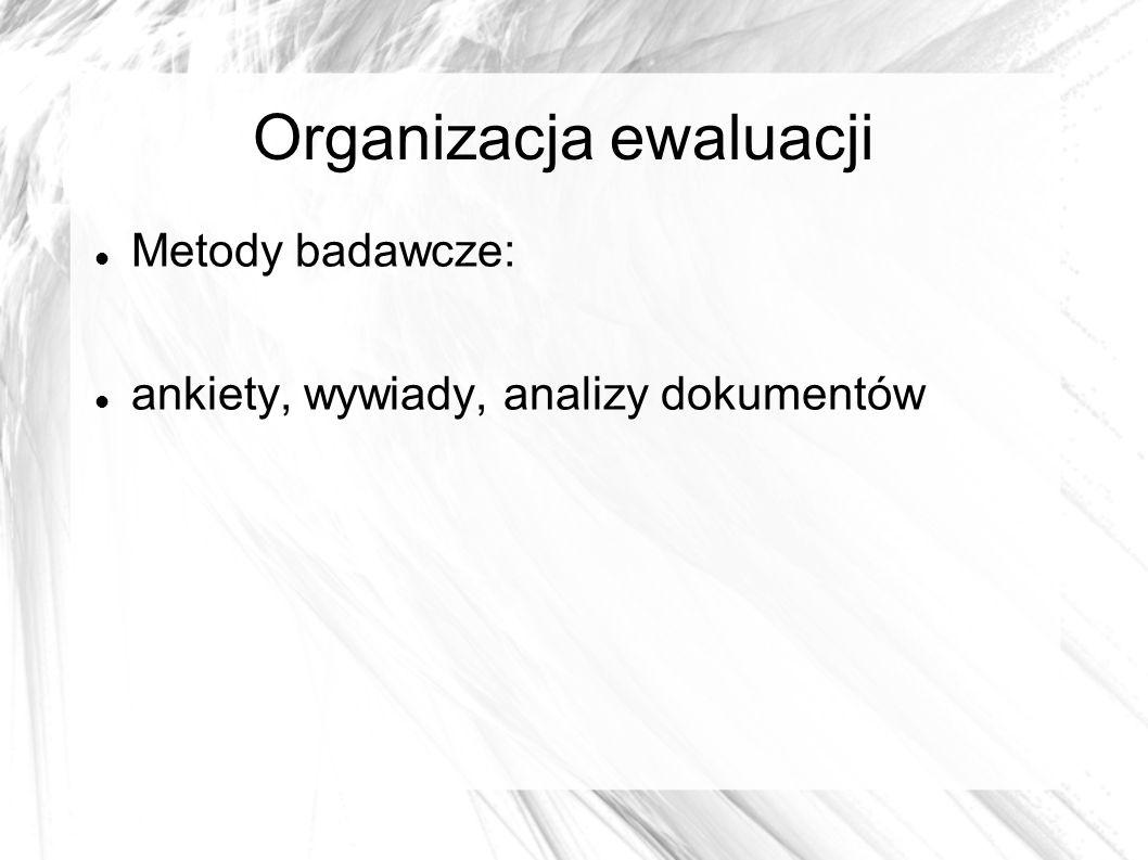 Organizacja ewaluacji Metody badawcze: ankiety, wywiady, analizy dokumentów