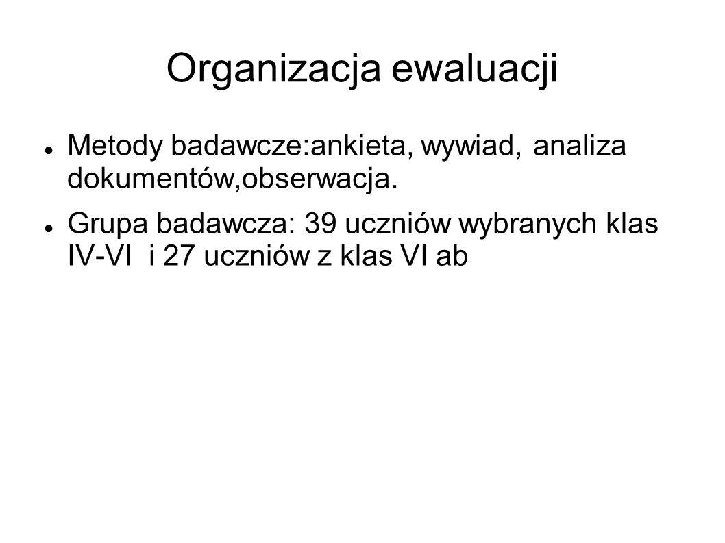 Organizacja ewaluacji Metody badawcze:ankieta, wywiad, analiza dokumentów,obserwacja. Grupa badawcza: 39 uczniów wybranych klas IV-VI i 27 uczniów z k
