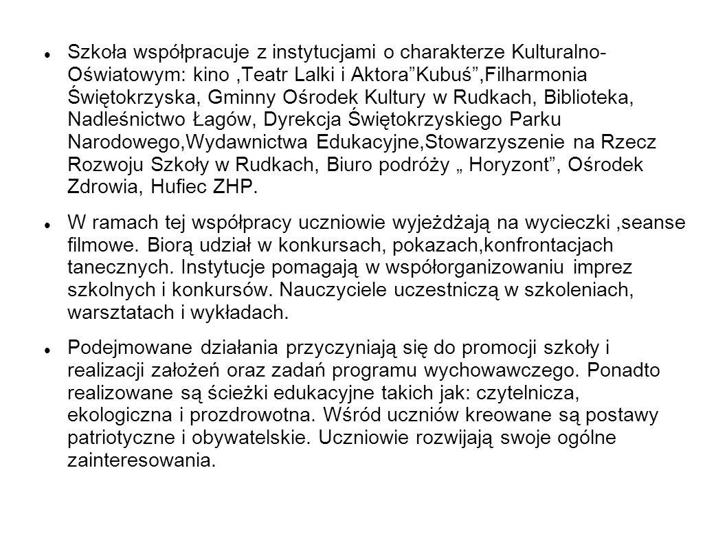 """Szkoła współpracuje z instytucjami o charakterze Kulturalno- Oświatowym: kino,Teatr Lalki i Aktora""""Kubuś"""",Filharmonia Świętokrzyska, Gminny Ośrodek Ku"""