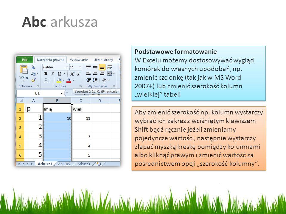 Abc arkusza Podstawowe formatowanie W Excelu możemy dostosowywać wygląd komórek do własnych upodobań, np.