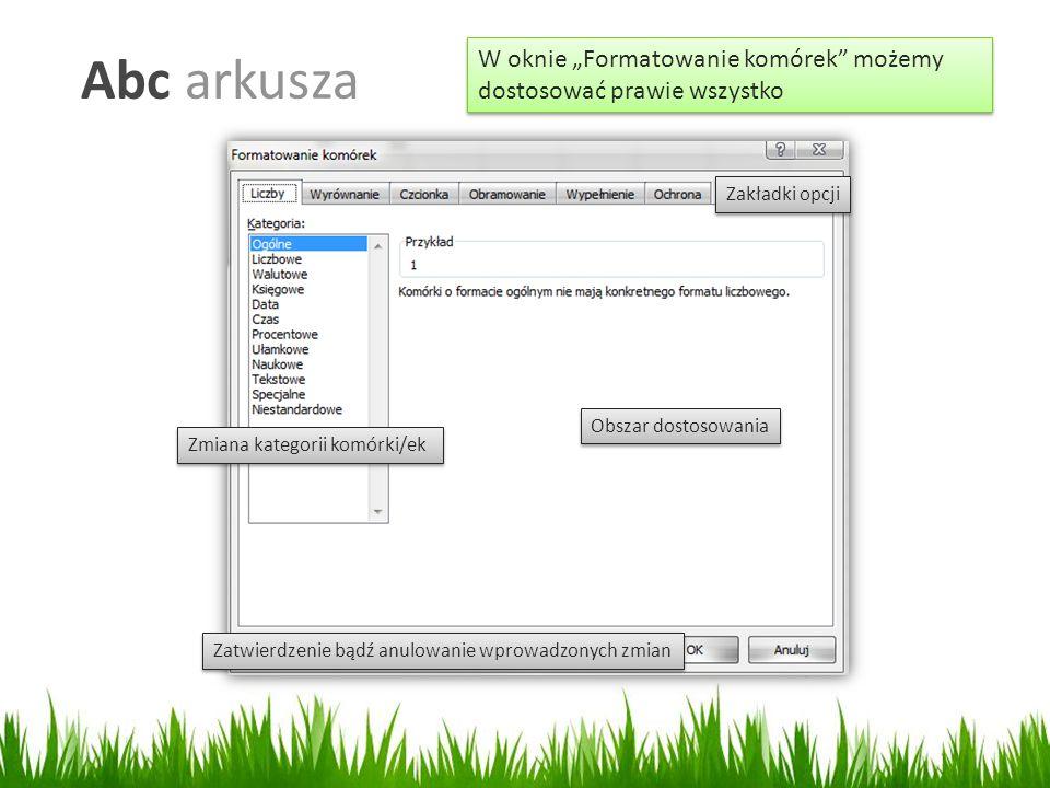 """Abc arkusza W oknie """"Formatowanie komórek możemy dostosować prawie wszystko Zmiana kategorii komórki/ek Zatwierdzenie bądź anulowanie wprowadzonych zmian Zakładki opcji Obszar dostosowania"""