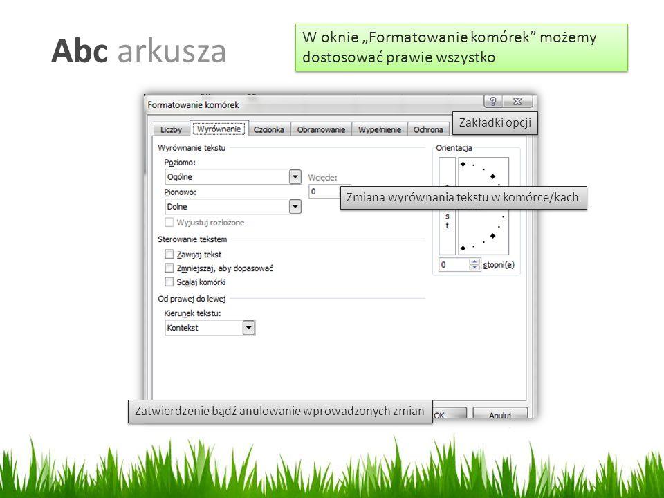 """Abc arkusza W oknie """"Formatowanie komórek możemy dostosować prawie wszystko Zmiana wyrównania tekstu w komórce/kach Zatwierdzenie bądź anulowanie wprowadzonych zmian Zakładki opcji"""