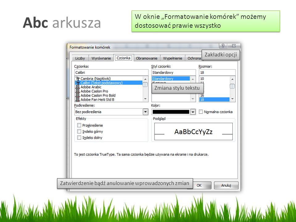 """Abc arkusza W oknie """"Formatowanie komórek możemy dostosować prawie wszystko Zmiana stylu tekstu Zatwierdzenie bądź anulowanie wprowadzonych zmian Zakładki opcji"""