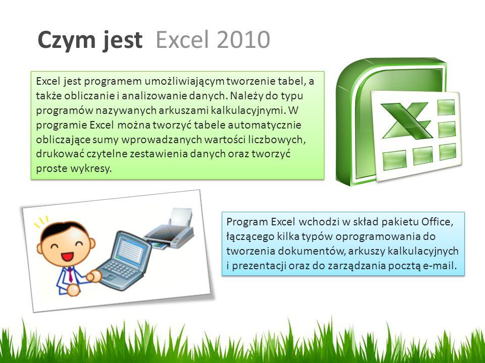 Czym jest Excel 2010 Excel jest programem umożliwiającym tworzenie tabel, a także obliczanie i analizowanie danych.