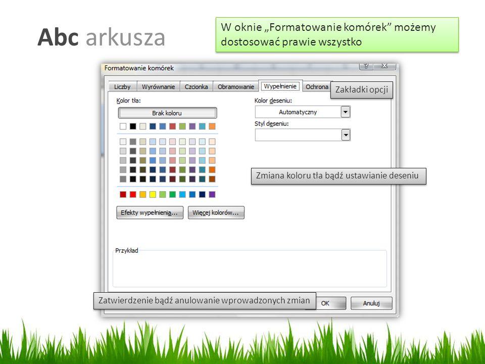 """Abc arkusza W oknie """"Formatowanie komórek możemy dostosować prawie wszystko Zmiana koloru tła bądź ustawianie deseniu Zatwierdzenie bądź anulowanie wprowadzonych zmian Zakładki opcji"""