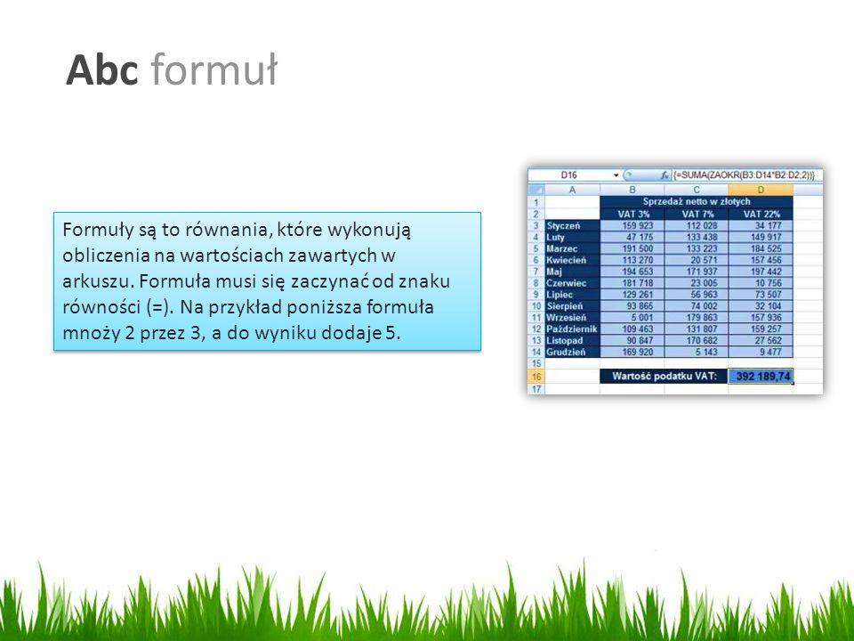 Abc formuł Formuły są to równania, które wykonują obliczenia na wartościach zawartych w arkuszu.