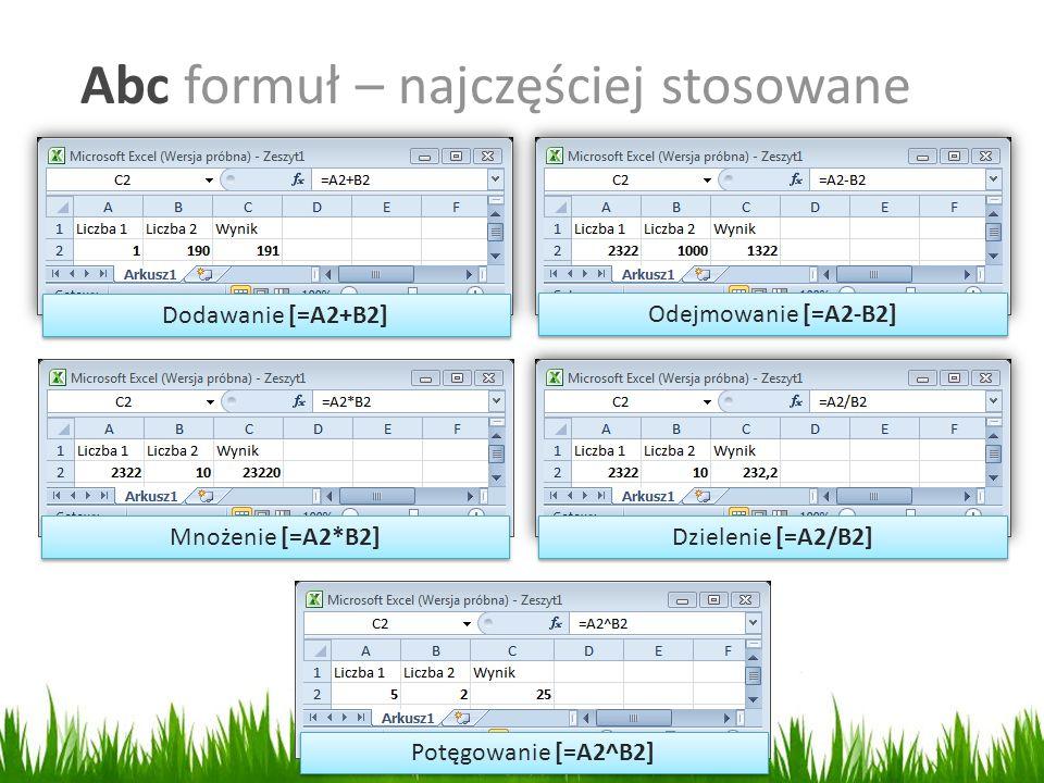 Abc formuł – najczęściej stosowane Dodawanie [=A2+B2] Odejmowanie [=A2-B2] Dzielenie [=A2/B2] Mnożenie [=A2*B2] Potęgowanie [=A2^B2]