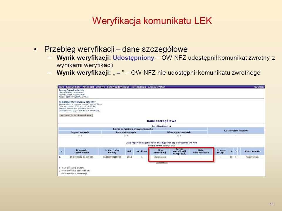 Weryfikacja komunikatu LEK 11 Przebieg weryfikacji – dane szczegółowe –Wynik weryfikacji: Udostępniony – OW NFZ udostępnił komunikat zwrotny z wynikam