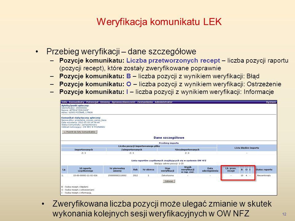 Weryfikacja komunikatu LEK 12 Przebieg weryfikacji – dane szczegółowe –Pozycje komunikatu: Liczba przetworzonych recept – liczba pozycji raportu (pozy
