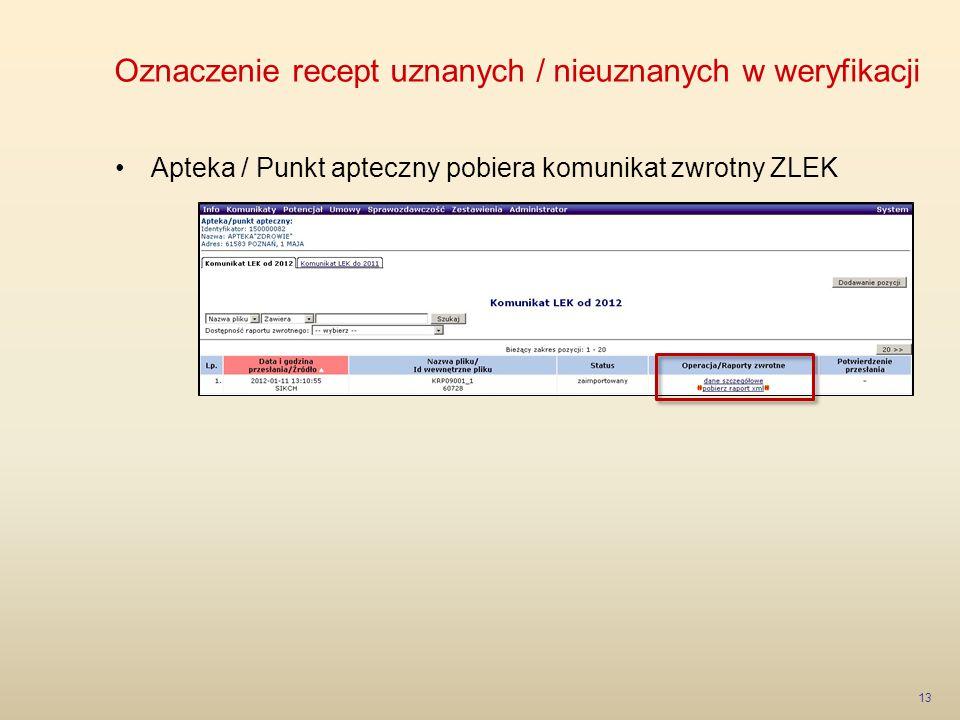 Oznaczenie recept uznanych / nieuznanych w weryfikacji 13 Apteka / Punkt apteczny pobiera komunikat zwrotny ZLEK