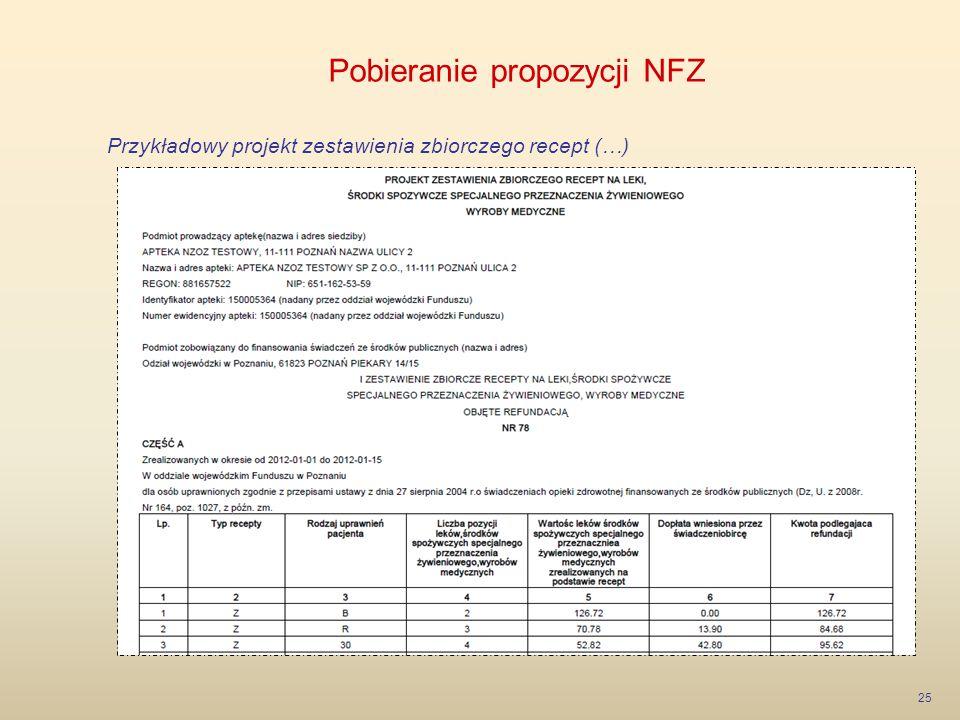 Pobieranie propozycji NFZ 25 Przykładowy projekt zestawienia zbiorczego recept (…)