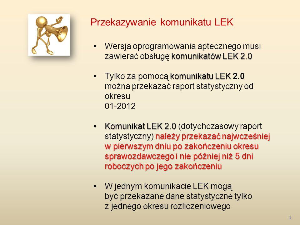 Przekazywanie komunikatu LEK 4 Portal SZOI: Logowanie do Portalu SZOI – indywidualne konto apteki Menu: Sprawozdawczość > Raporty statystyczne apteczne Zakładka: Komunikat LEK od 2012 Opcja: Dodawanie pozycji