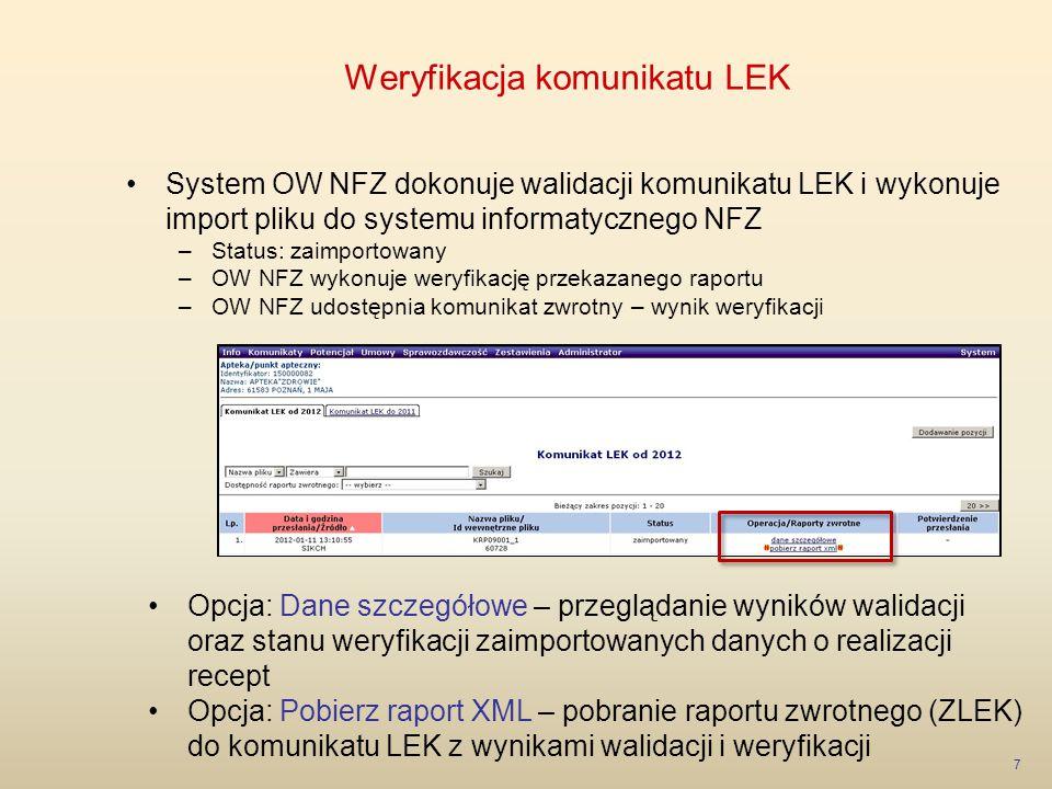 Weryfikacja komunikatu LEK 8 Portal SZOI – okno przeglądania Danych szczegółowych z wyniku walidacji i weryfikacji: –Wynik walidacji komunikatu LEK (przebieg importu) –Wynik weryfikacji komunikatu LEK (lista raportów cząstkowych znajdujących się w systemie OW NFZ)