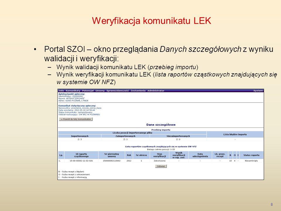 Weryfikacja komunikatu LEK 9 Przebieg importu – dane szczegółowe –Pozycje* importowane – liczba pozycji przekazanych w komunikacie –Pozycje* zaimportowane – liczba pozycji poprawnie zaimportowanych do systemu –Pozycje* niezaimportowane – liczba błędnych pozycji niezaimportowanych do systemu *Przez pozycję rozumie się przekazanie nowej wersji danych zrealizowanej recepty lub przekazanie żądania usunięcia recepty wcześniej przekazanej do OW NFZ