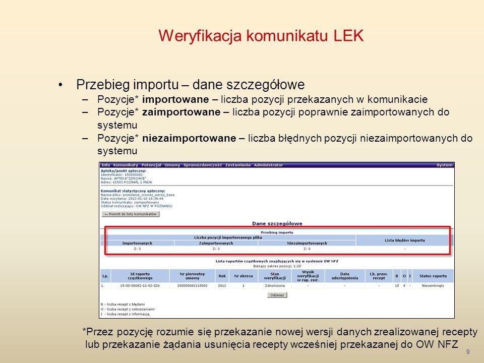 Weryfikacja komunikatu LEK 9 Przebieg importu – dane szczegółowe –Pozycje* importowane – liczba pozycji przekazanych w komunikacie –Pozycje* zaimporto