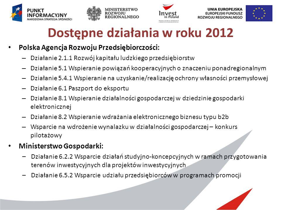 Dostępne działania w roku 2012 Polska Agencja Rozwoju Przedsiębiorczości: – Działanie 2.1.1 Rozwój kapitału ludzkiego przedsiębiorstw – Działanie 5.1