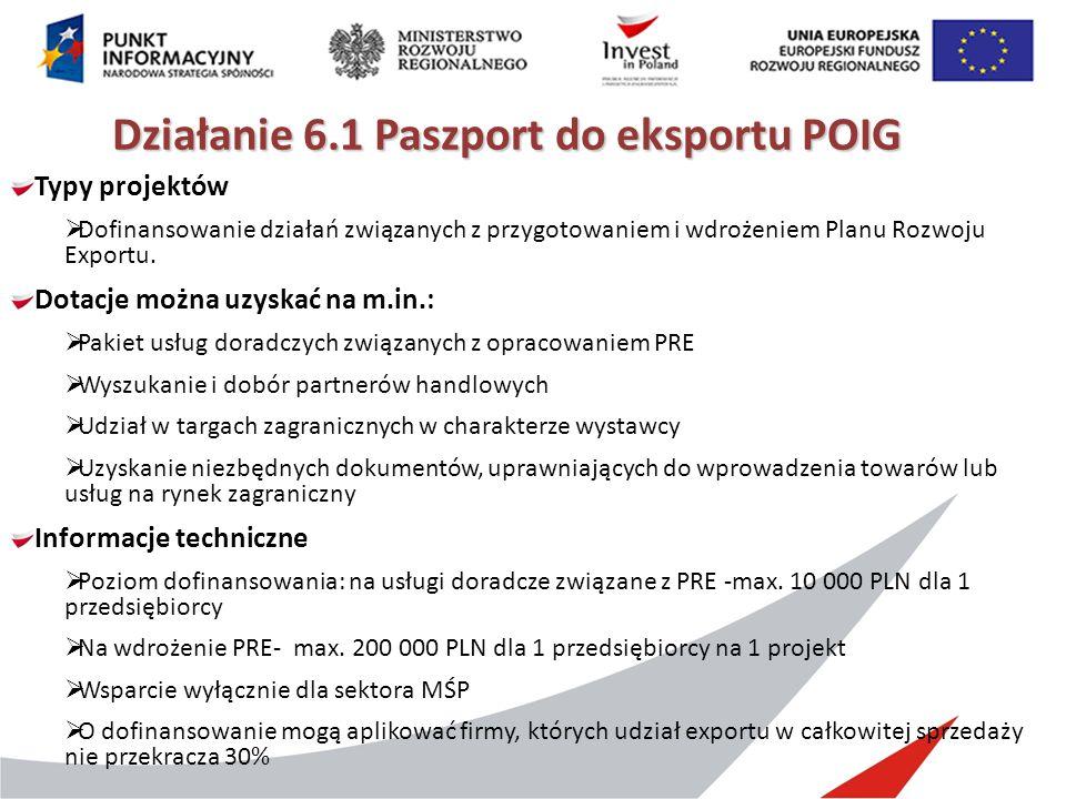 Działanie 6.1 Paszport do eksportu POIG Typy projektów  Dofinansowanie działań związanych z przygotowaniem i wdrożeniem Planu Rozwoju Exportu. Dotacj
