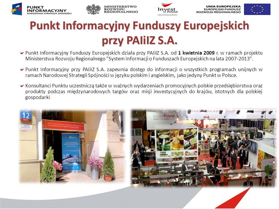Punkt Informacyjny Funduszy Europejskich przy PAIiIZ S.A. Punkt Informacyjny Funduszy Europejskich działa przy PAIiIZ S.A. od 1 kwietnia 2009 r. w ram