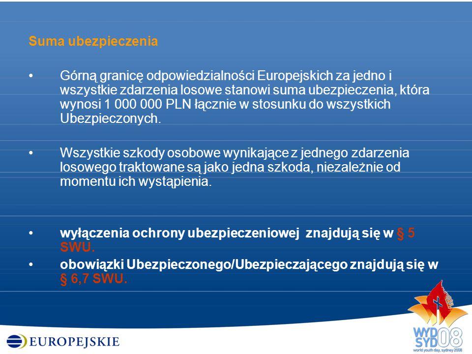 Suma ubezpieczenia Górną granicę odpowiedzialności Europejskich za jedno i wszystkie zdarzenia losowe stanowi suma ubezpieczenia, która wynosi 1 000 0