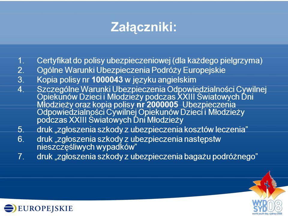 Załączniki: 1.Certyfikat do polisy ubezpieczeniowej (dla każdego pielgrzyma) 2.Ogólne Warunki Ubezpieczenia Podróży Europejskie 3.Kopia polisy nr 1000