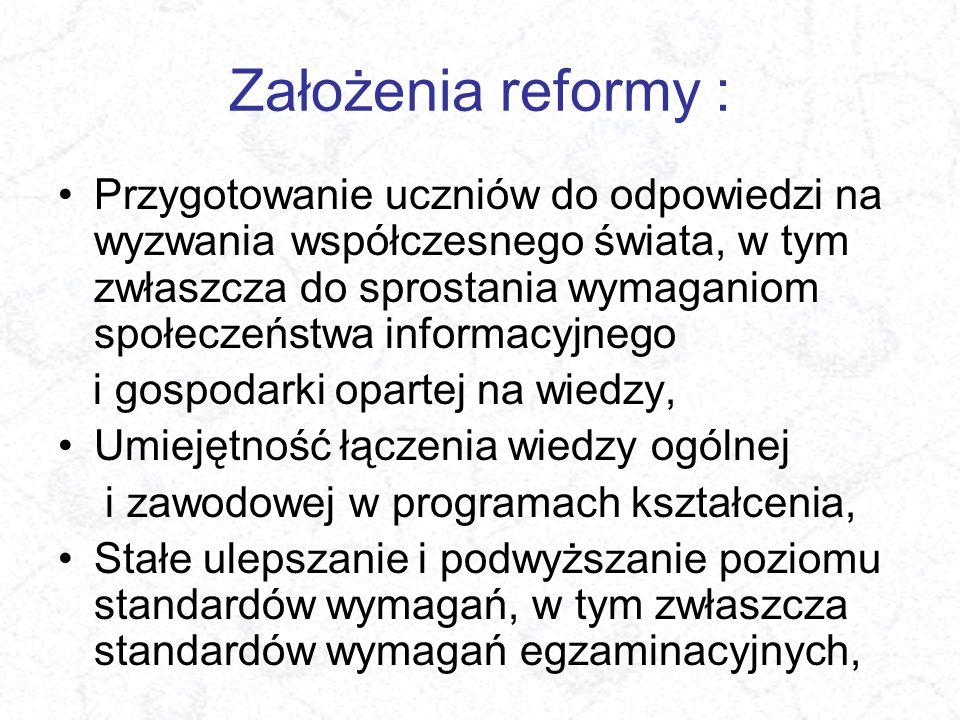 Założenia reformy : Przygotowanie uczniów do odpowiedzi na wyzwania współczesnego świata, w tym zwłaszcza do sprostania wymaganiom społeczeństwa infor