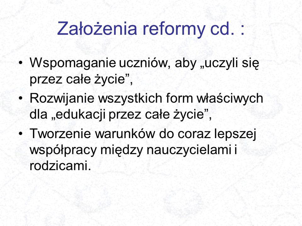 """Założenia reformy cd. : Wspomaganie uczniów, aby """"uczyli się przez całe życie"""", Rozwijanie wszystkich form właściwych dla """"edukacji przez całe życie"""","""
