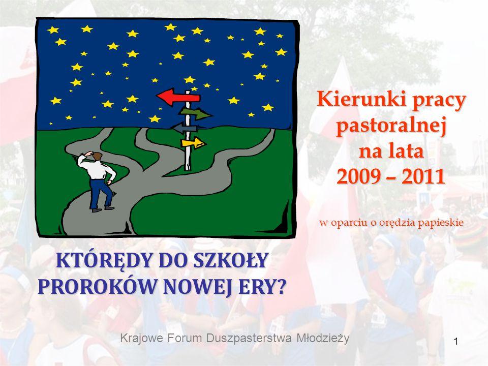 1 Kierunki pracy pastoralnej na lata 2009 – 2011 w oparciu o orędzia papieskie KTÓRĘDY DO SZKOŁY PROROKÓW NOWEJ ERY? Krajowe Forum Duszpasterstwa Młod