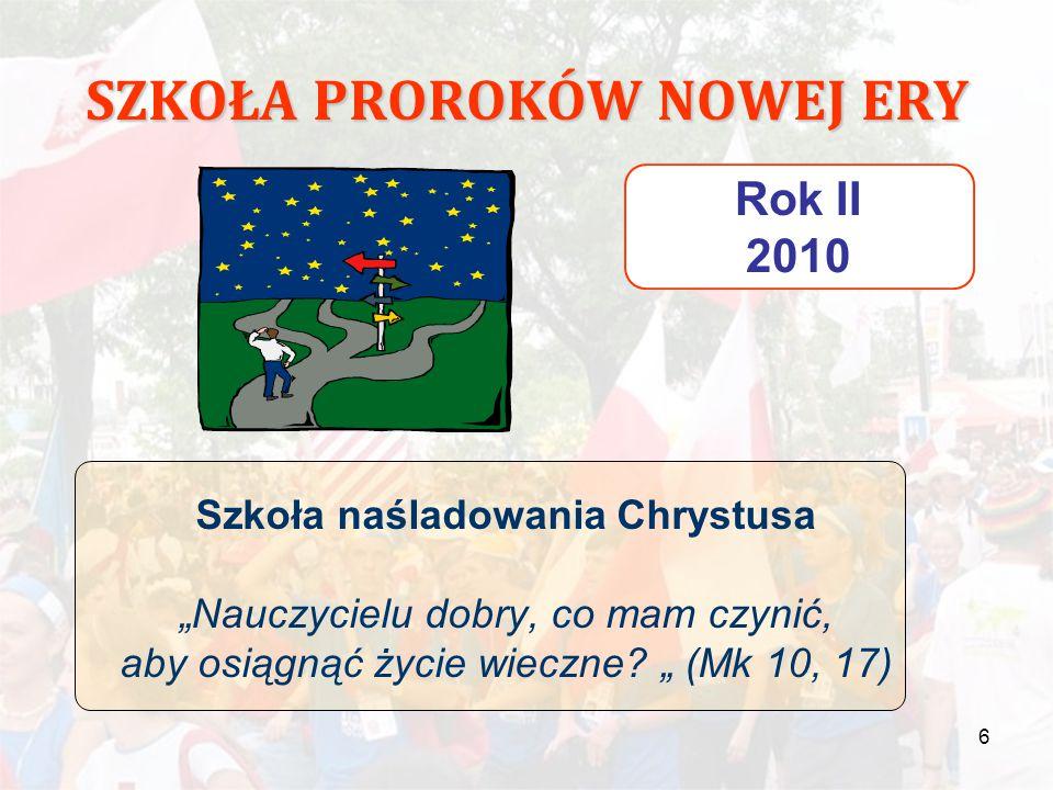 """6 SZKOŁA PROROKÓW NOWEJ ERY Rok II 2010 Szkoła naśladowania Chrystusa """"Nauczycielu dobry, co mam czynić, aby osiągnąć życie wieczne? """" (Mk 10, 17)"""