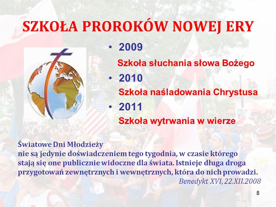 SZKOŁA PROROKÓW NOWEJ ERY 2009 Szkoła słuchania słowa Bożego 2010 Szkoła naśladowania Chrystusa 2011 Szkoła wytrwania w wierze 8 Światowe Dni Młodzieży nie są jedynie doświadczeniem tego tygodnia, w czasie którego stają się one publicznie widoczne dla świata.