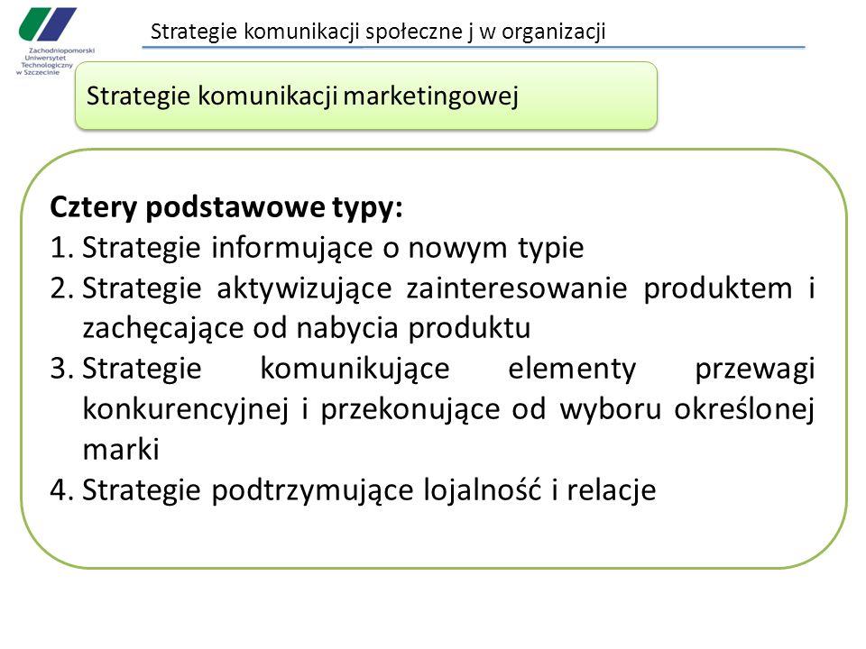 Strategie komunikacji społeczne j w organizacji Strategie komunikacji marketingowej Cztery podstawowe typy: 1.Strategie informujące o nowym typie 2.Strategie aktywizujące zainteresowanie produktem i zachęcające od nabycia produktu 3.Strategie komunikujące elementy przewagi konkurencyjnej i przekonujące od wyboru określonej marki 4.Strategie podtrzymujące lojalność i relacje