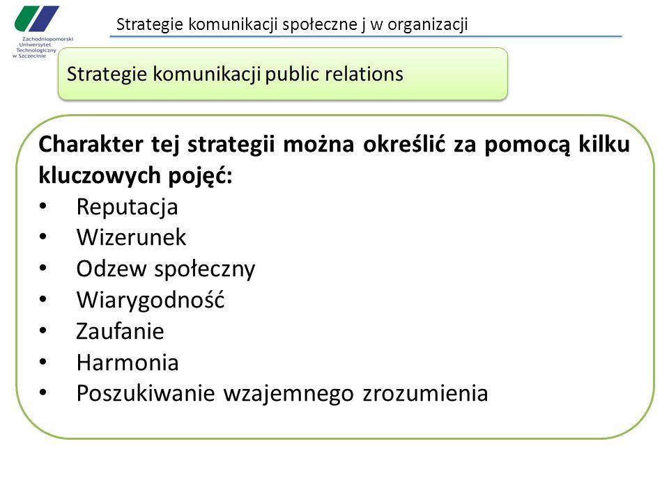 Strategie komunikacji społeczne j w organizacji Strategie komunikacji public relations Charakter tej strategii można określić za pomocą kilku kluczowy