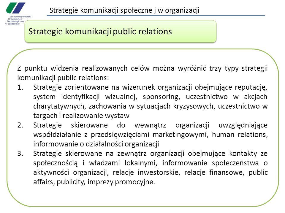 Strategie komunikacji społeczne j w organizacji Strategie komunikacji public relations Z punktu widzenia realizowanych celów można wyróżnić trzy typy strategii komunikacji public relations: 1.Strategie zorientowane na wizerunek organizacji obejmujące reputację, system identyfikacji wizualnej, sponsoring, uczestnictwo w akcjach charytatywnych, zachowania w sytuacjach kryzysowych, uczestnictwo w targach i realizowanie wystaw 2.Strategie skierowane do wewnątrz organizacji uwzględniające współdziałanie z przedsięwzięciami marketingowymi, human relations, informowanie o działalności organizacji 3.Strategie skierowane na zewnątrz organizacji obejmujące kontakty ze społecznością i władzami lokalnymi, informowanie społeczeństwa o aktywności organizacji, relacje inwestorskie, relacje finansowe, public affairs, publicity, imprezy promocyjne.