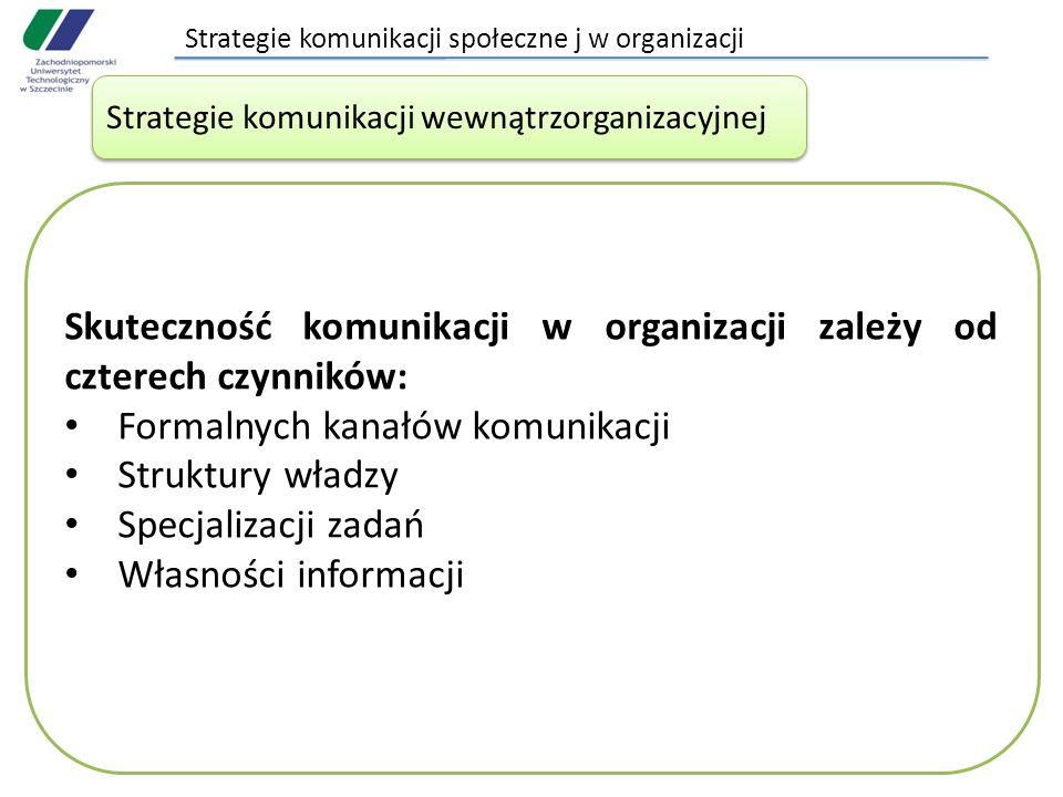 Strategie komunikacji społeczne j w organizacji Strategie komunikacji wewnątrzorganizacyjnej Skuteczność komunikacji w organizacji zależy od czterech czynników: Formalnych kanałów komunikacji Struktury władzy Specjalizacji zadań Własności informacji