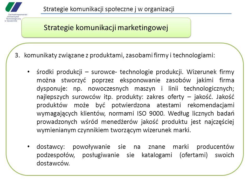 Strategie komunikacji społeczne j w organizacji 3.komunikaty związane z produktami, zasobami firmy i technologiami: środki produkcji – surowce- technologie produkcji.