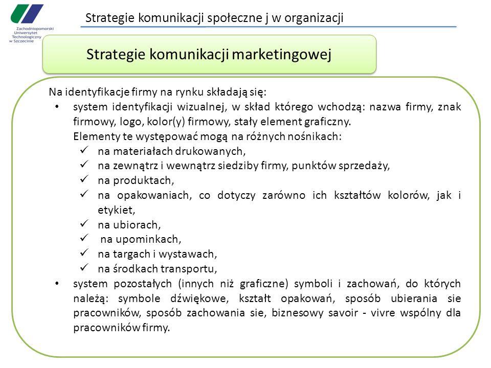 Strategie komunikacji społeczne j w organizacji Na identyfikacje firmy na rynku składają się: system identyfikacji wizualnej, w skład którego wchodzą: nazwa firmy, znak firmowy, logo, kolor(y) firmowy, stały element graficzny.