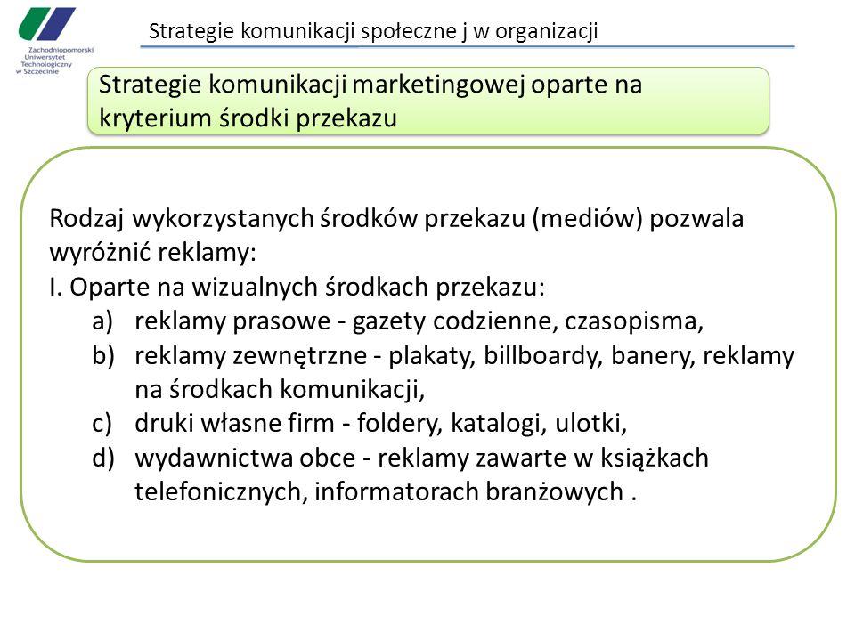 Strategie komunikacji społeczne j w organizacji Rodzaj wykorzystanych środków przekazu (mediów) pozwala wyróżnić reklamy: I. Oparte na wizualnych środ