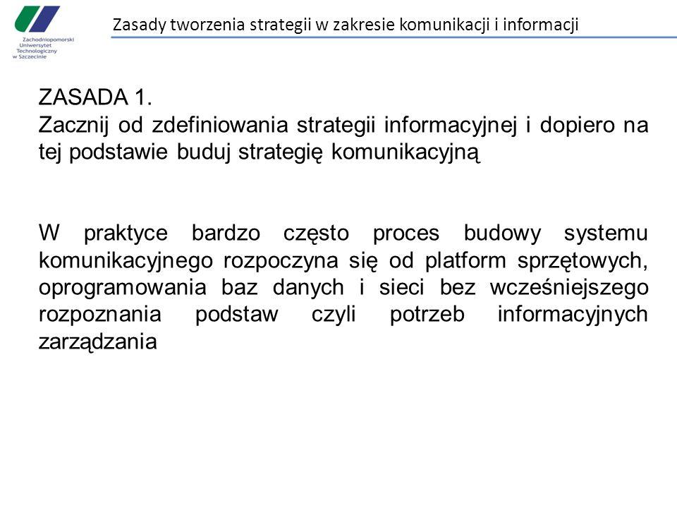 Zasady tworzenia strategii w zakresie komunikacji i informacji ZASADA 1. Zacznij od zdefiniowania strategii informacyjnej i dopiero na tej podstawie b