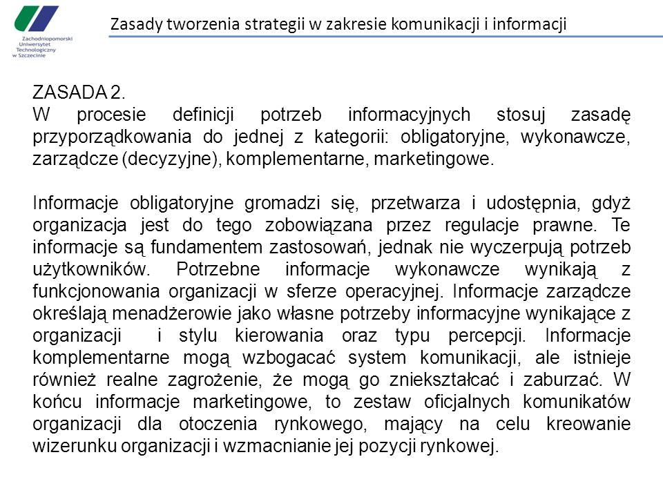Zasady tworzenia strategii w zakresie komunikacji i informacji ZASADA 2. W procesie definicji potrzeb informacyjnych stosuj zasadę przyporządkowania d