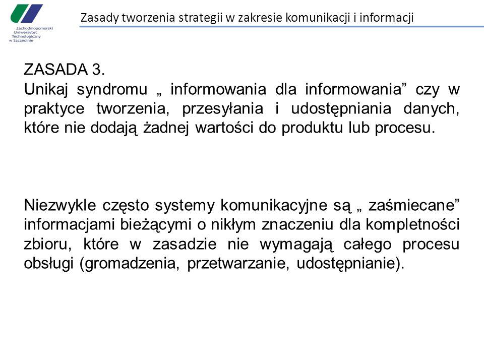"""Zasady tworzenia strategii w zakresie komunikacji i informacji ZASADA 3. Unikaj syndromu """" informowania dla informowania"""" czy w praktyce tworzenia, pr"""