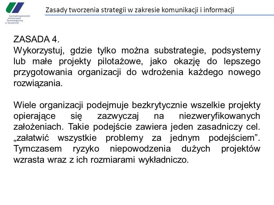 Zasady tworzenia strategii w zakresie komunikacji i informacji ZASADA 4. Wykorzystuj, gdzie tylko można substrategie, podsystemy lub małe projekty pil