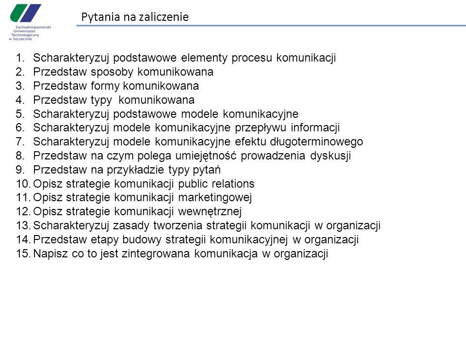 Pytania na zaliczenie 1.Scharakteryzuj podstawowe elementy procesu komunikacji 2.Przedstaw sposoby komunikowana 3.Przedstaw formy komunikowana 4.Przedstaw typy komunikowana 5.Scharakteryzuj podstawowe modele komunikacyjne 6.Scharakteryzuj modele komunikacyjne przepływu informacji 7.Scharakteryzuj modele komunikacyjne efektu długoterminowego 8.Przedstaw na czym polega umiejętność prowadzenia dyskusji 9.Przedstaw na przykładzie typy pytań 10.Opisz strategie komunikacji public relations 11.Opisz strategie komunikacji marketingowej 12.Opisz strategie komunikacji wewnętrznej 13.Scharakteryzuj zasady tworzenia strategii komunikacji w organizacji 14.Przedstaw etapy budowy strategii komunikacyjnej w organizacji 15.Napisz co to jest zintegrowana komunikacja w organizacji